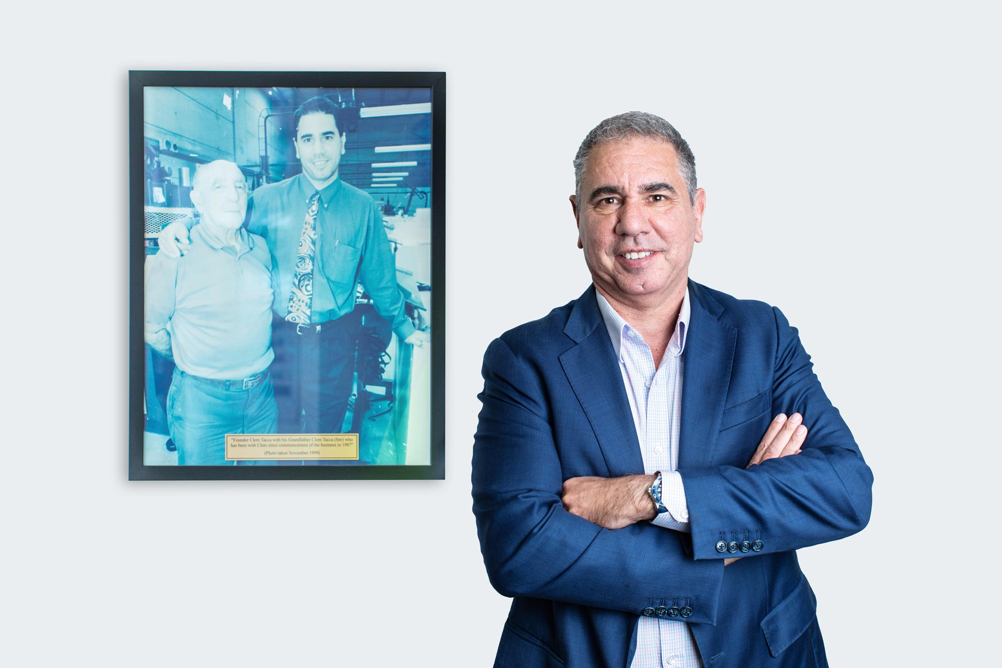 Photo of Tacca CEO Clem Tacca next to a photo of himself and his grandfather.